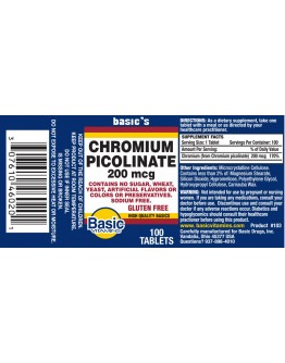 CHROMIUM PICOLINATE 200mcg. TABLETS