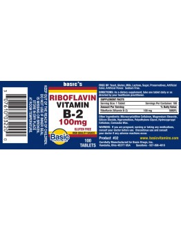 RIBIOFLAVIN VIT B-2 100mg. Tablets