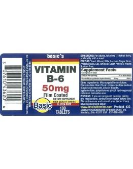 VITAMIN B-6 50mg. Tablets
