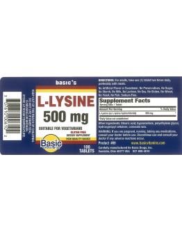 LYSINE 500mg. Tablets