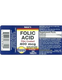 FOLIC ACID 400mcg. Tablets